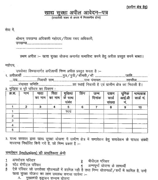 Rajasthan Ration Card Apply Form (APL / BPL) PDF Download