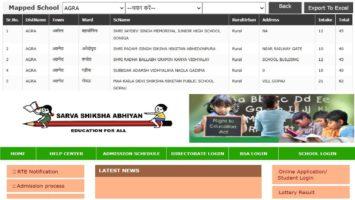 RTE UP Admission Online Application Form School List