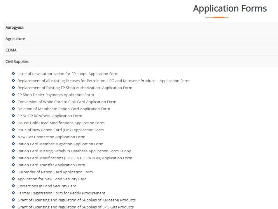 Telangana Civil Supplies Dept Application Forms
