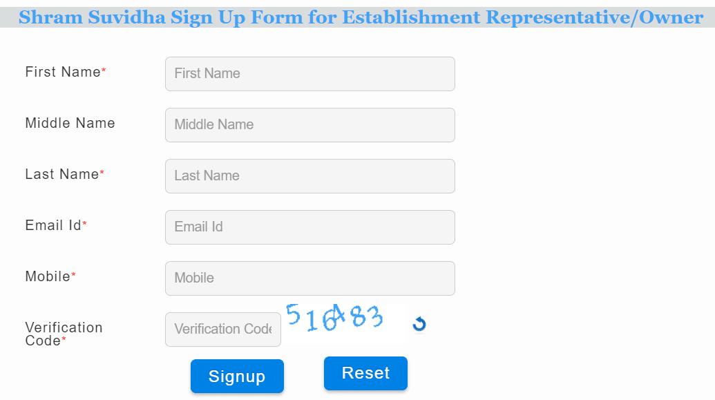 Shram Suvidha Registration Form Establishment Owner