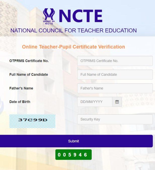 NCTE OTPRMS Teaching Degree Certificate Verification