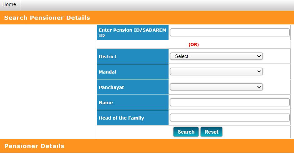 Telangana Aasara Pension Status