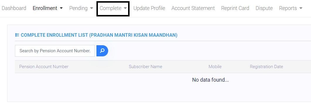 PM Kisan Mandhan Yojana Complete Enrollment List