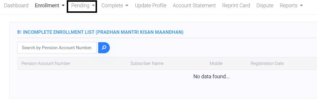 PM Kisan Mandhan Yojana Incomplete Enrollment List