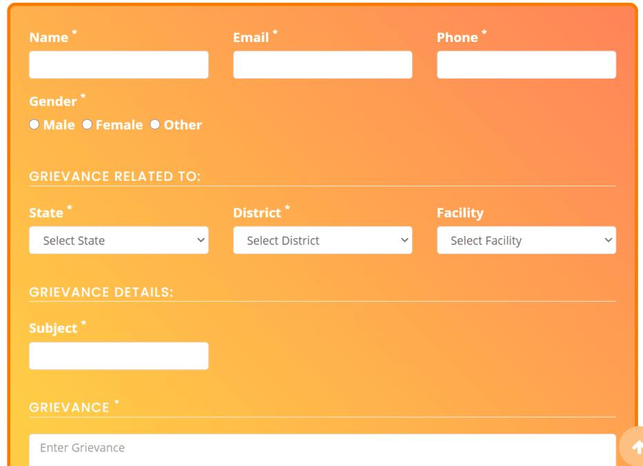 Suman Scheme Complaint Registration Form