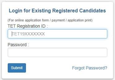 Maha TET 2019 Application Form Login