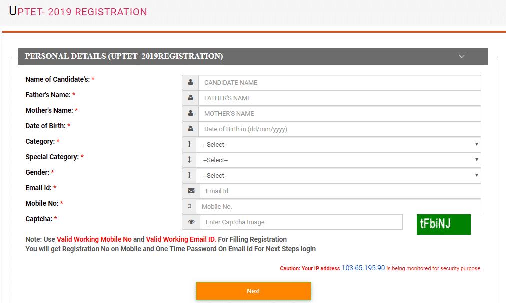 UPTET 2019 Online Registration Form
