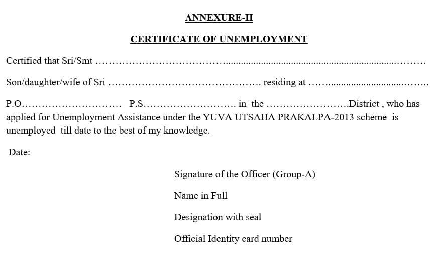 Yuvasree Unemployment Certificate Apply