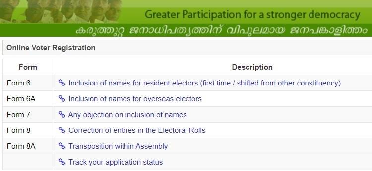 CEO Kerala Gov Online Voter Registration