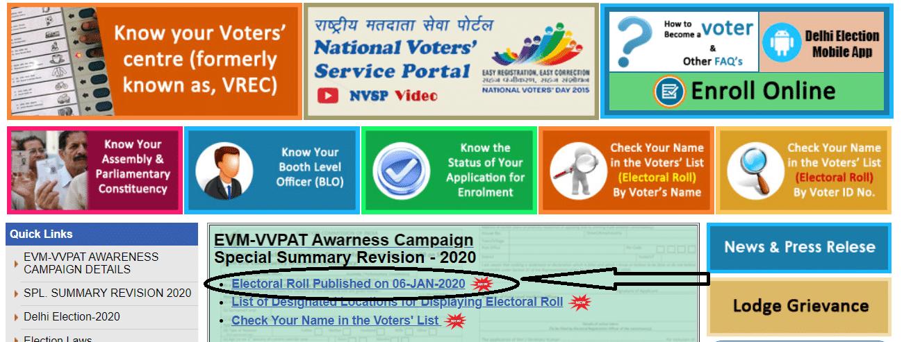 Delhi Electoral Roll PDF Download 2020