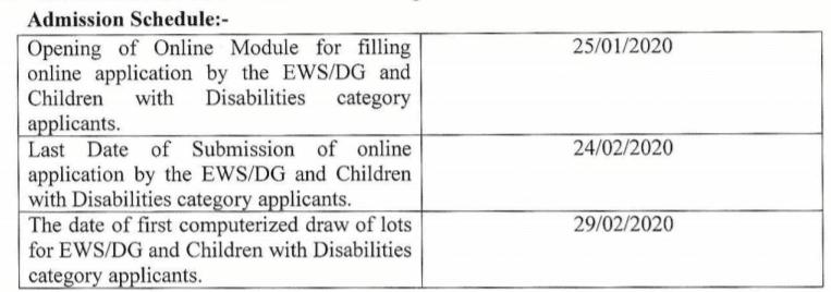 EWS DG Delhi Nursery KG Class 1 Admission Schedule 2020-21