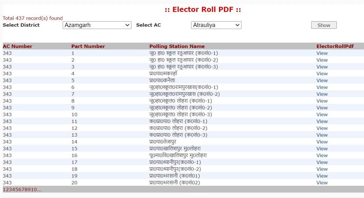 Ceouttarpradesh Nic UP Voter List Download