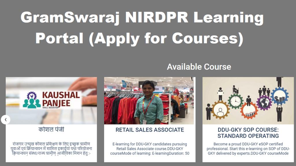 gramswaraj.nirdpr.in – Gram Swaraj Portal Online Course Registration / Login | List of Certificates