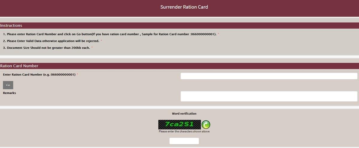 Surrender Ration Card Apply Form Haryana
