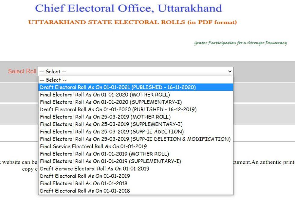 Uttarakhand State Electoral Rolls PDF