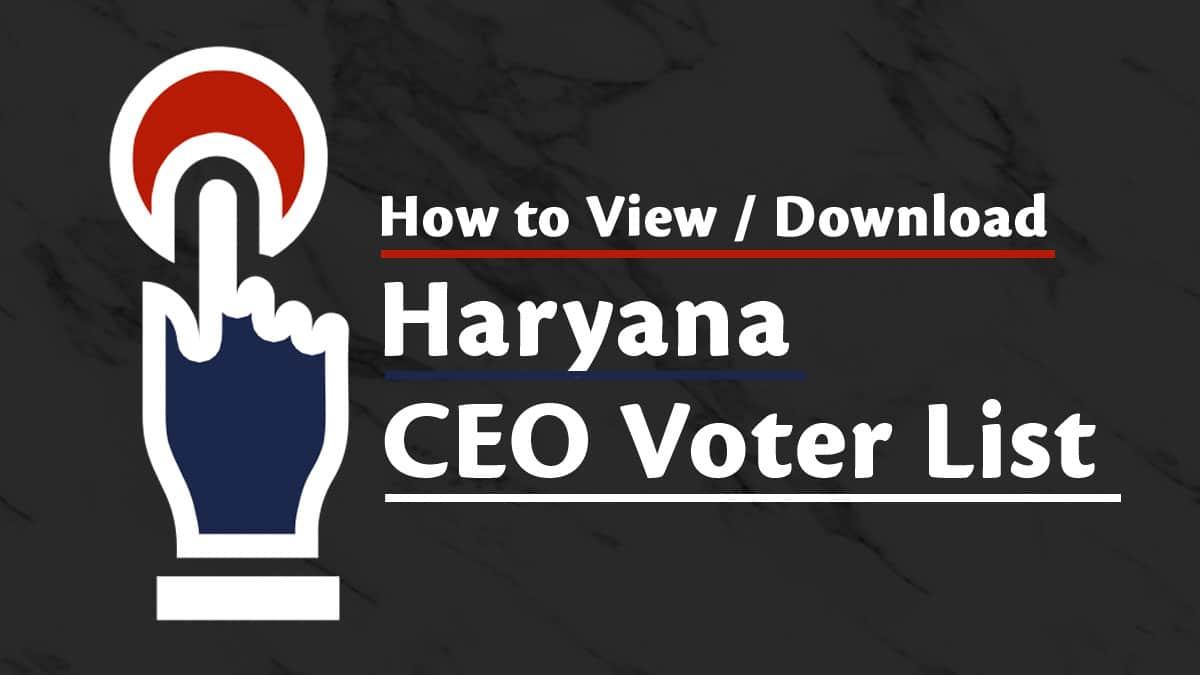 Haryana CEO Voter List