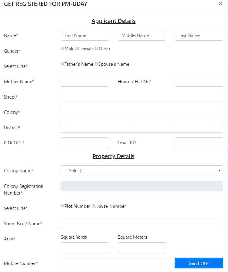 DDA PM-UDAY Online Registration Form