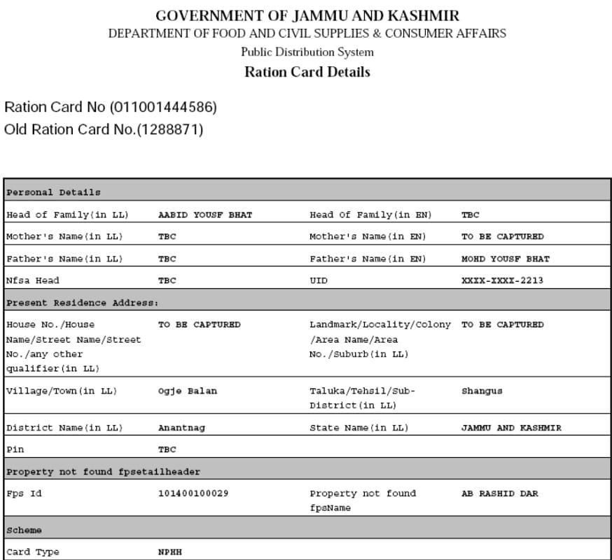 J&K Ration Card PDF Format