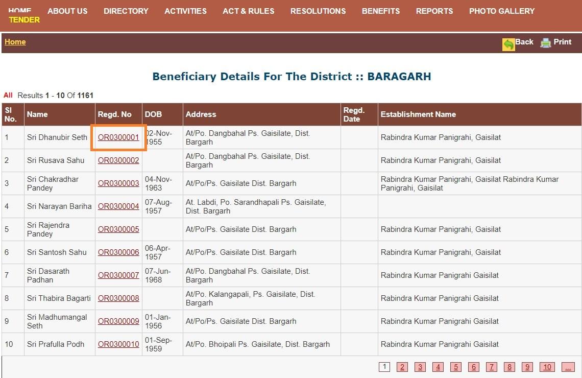 Odisha Labour Card Beneficiary List