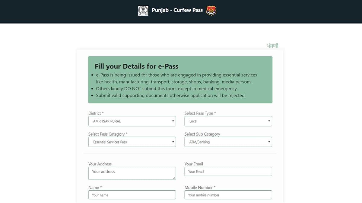 Punjab COVID-19 Curfew Pass Application Form