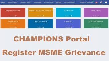 Champions Portal MSME Register Grievance Ideas Status
