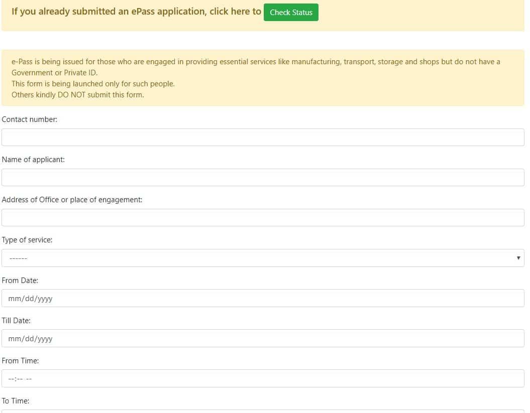 Delhi New ePass Online Application Form