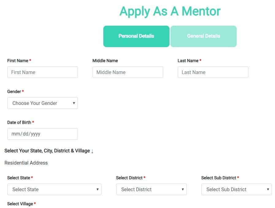 Mentor Registration Form Goal Tribal
