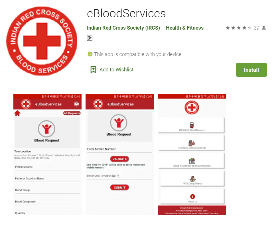 eBloodServices App Download Google Playstore
