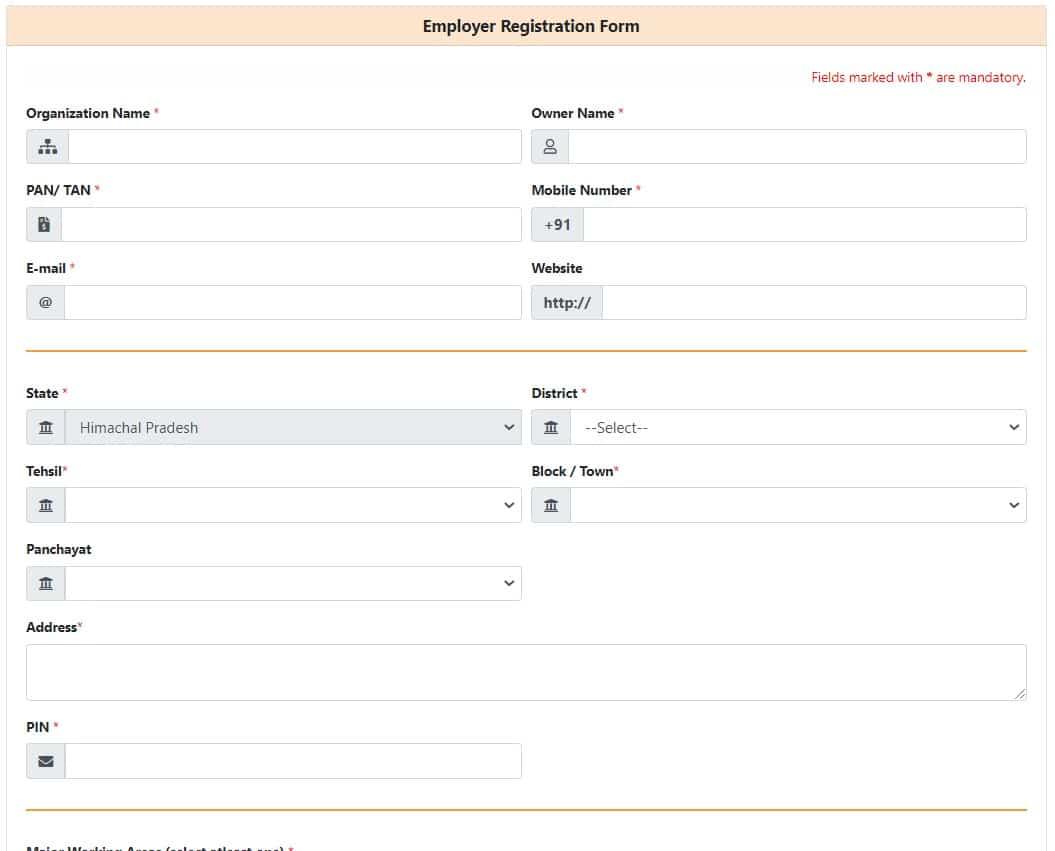 Skill Register HP Employer Registration Form