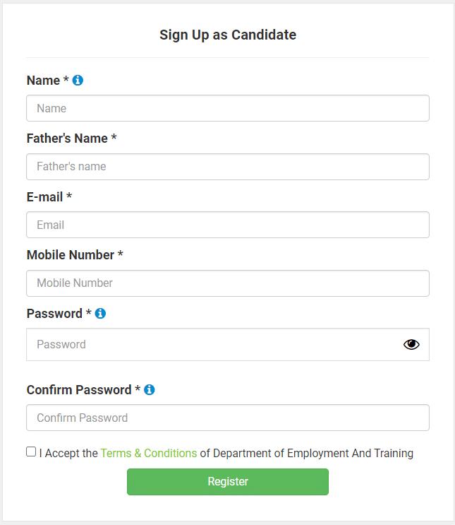 Tamilnadu Private Job Portal Online Registration Form