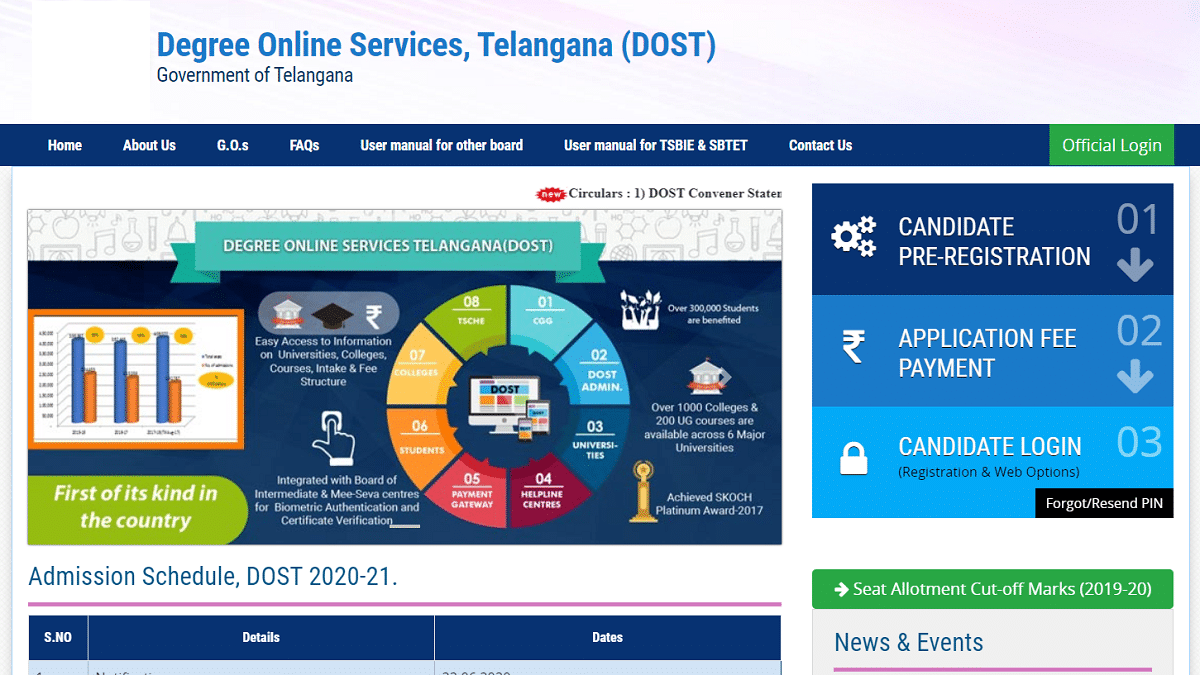 TS Dost Degree Admission Apply Online Telangana