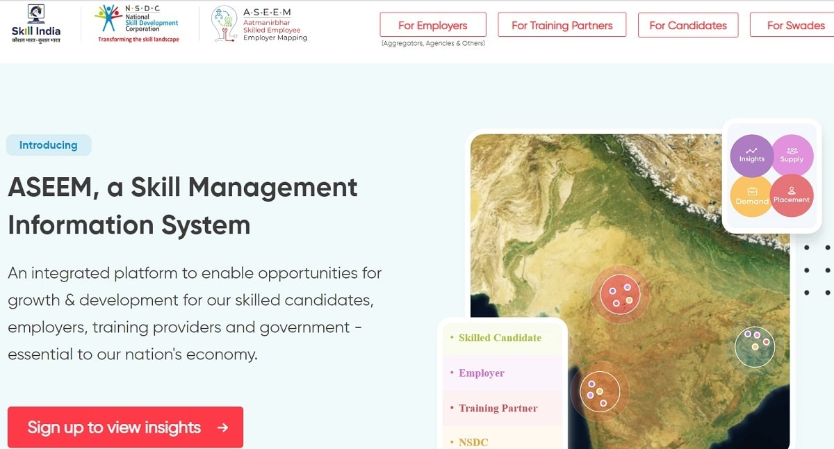 Aatmanirbhar Skilled Employee Employer Mapping ASEEM Portal