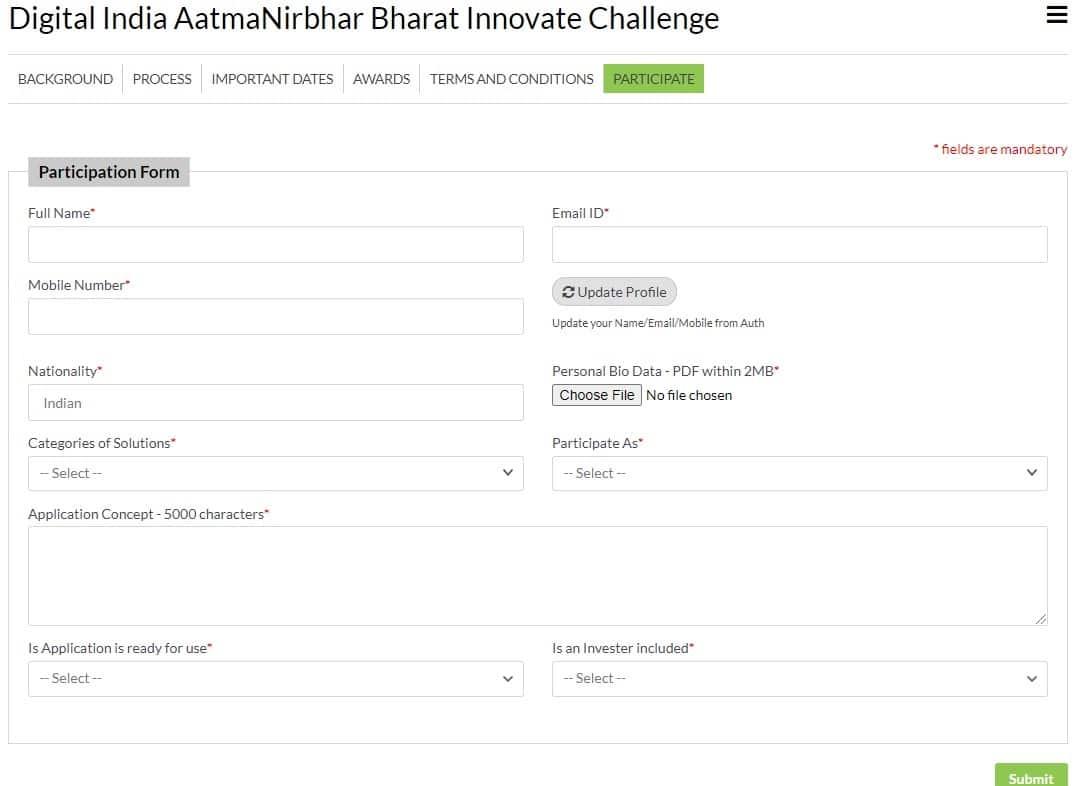 Atmanirbhar Bharat App Innovation Challenge Participation Form