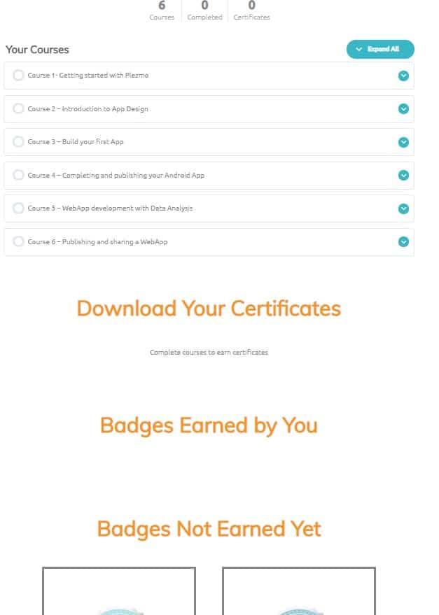 Earn Badges Download Certificates Free Online App Development Course AIM