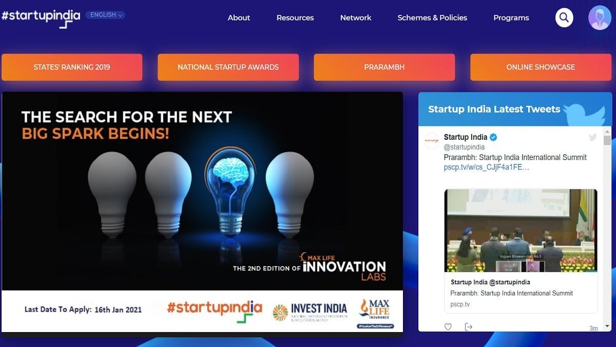 Startup India Gov In Homepage Registration Login