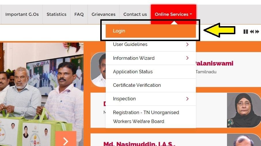 TN Labour Dept Online Portal Login Services