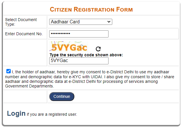 Delhi edistrict New User Registration