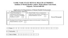 TN Mental Health Professionals Registration / Application Form 2021 at tnhealth.tn.gov.in