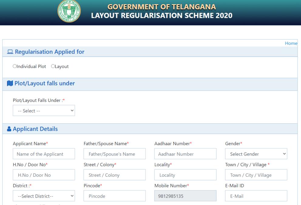 lrs scheme telangana online application form