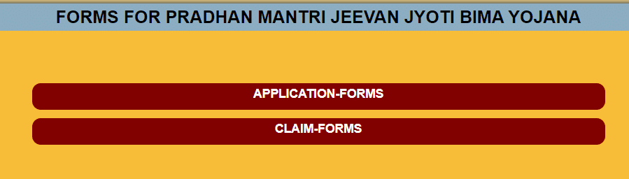 pm jeevan jyoti bima yojana forms page