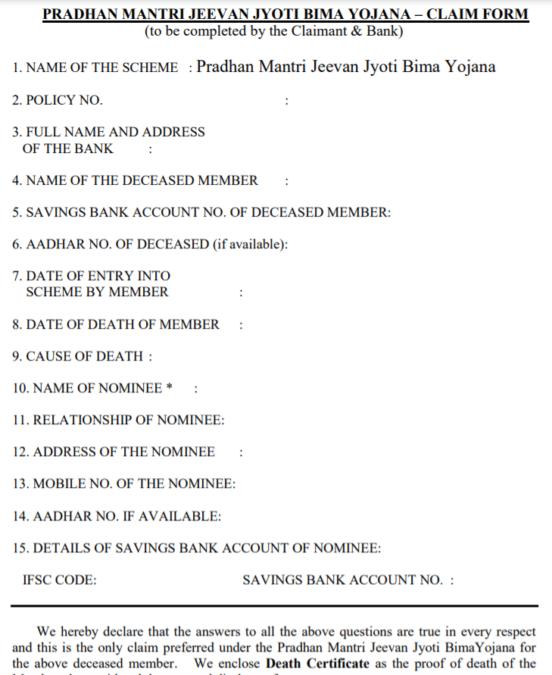 pradhan mantri jeevan jyoti bima yojana claim form pdf