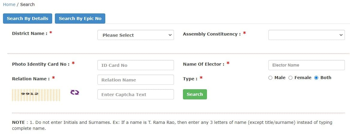 TS Voter ID Search By Name