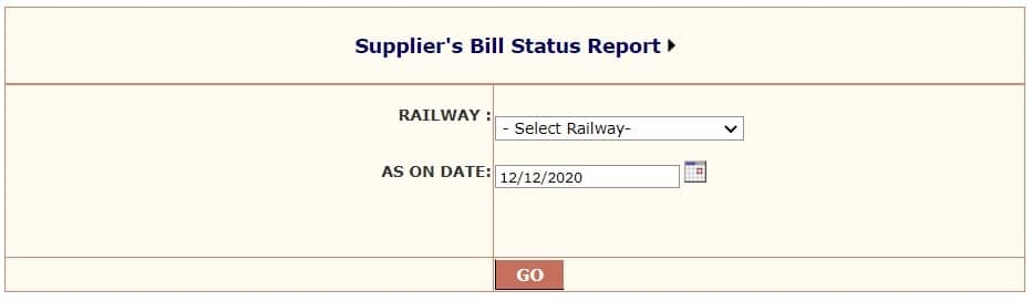 Railways Supplier Bill Status Report