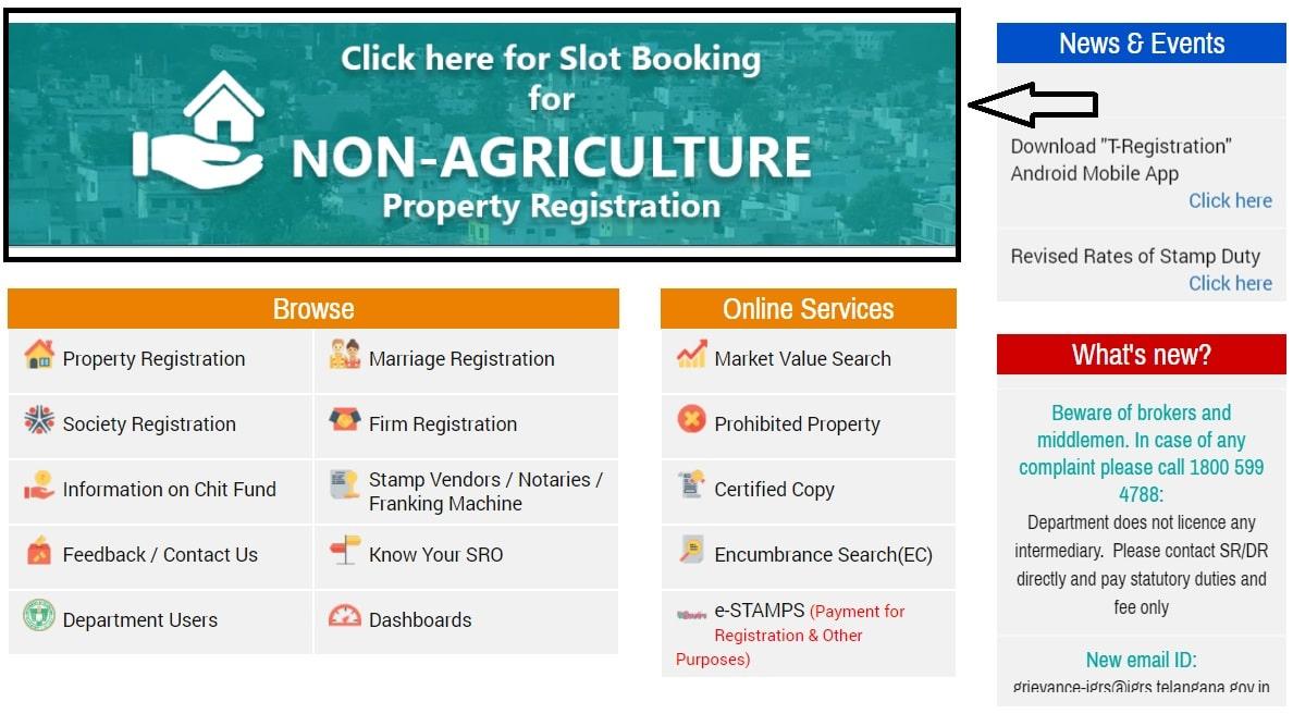 Registration Stamps Dept Telangana Homepage