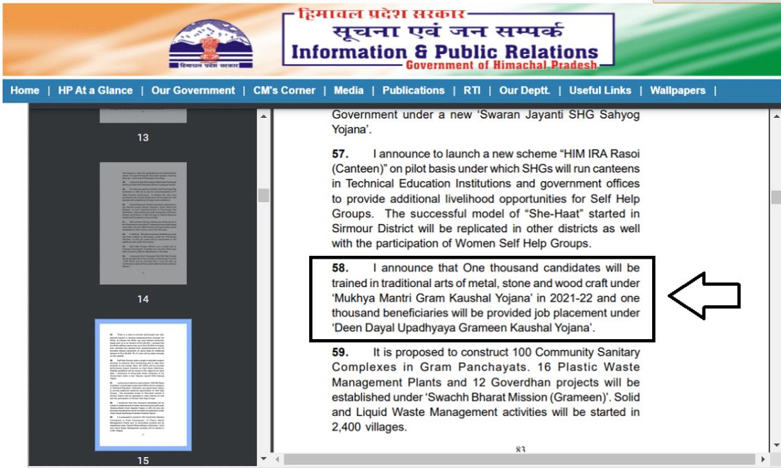 HP Mukhyamantri Gram Kaushal Yojna Budget