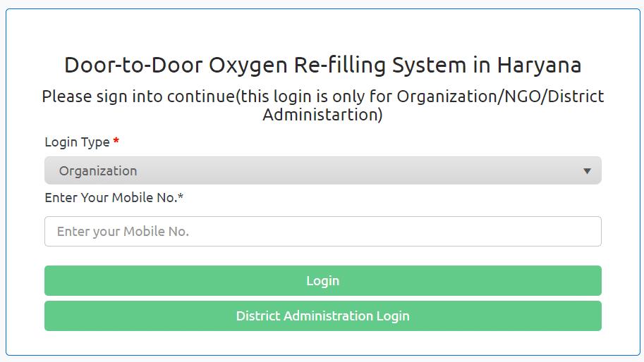 Haryana Oxygen Cylinder Refill Login Doorstep Delivery