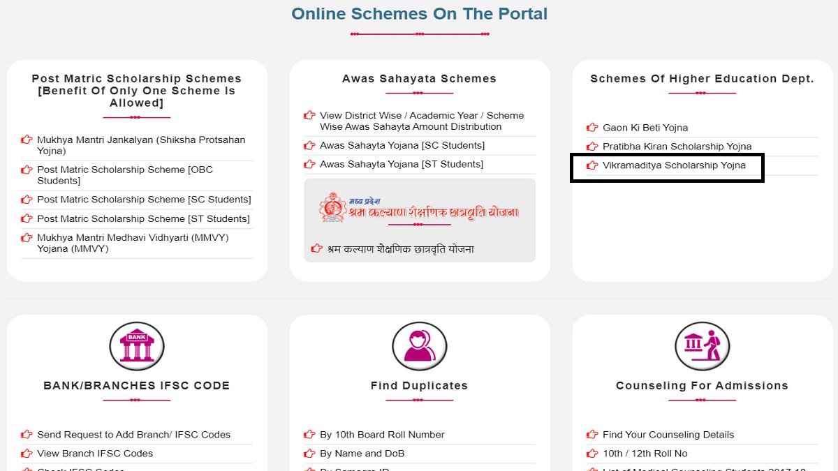 MP Vikramaditya Scholarship Yojana Online Registration Form Application Status