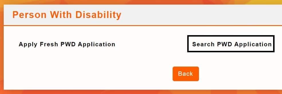 SSEPD Search PWD Application Online