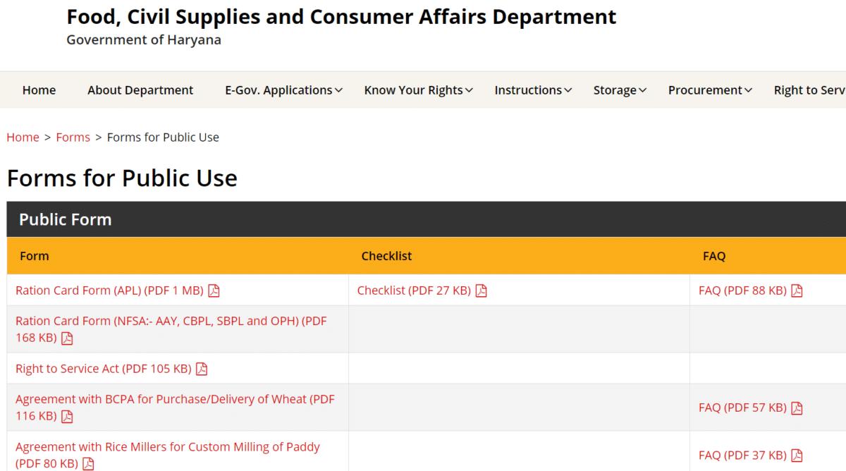 Haryanafood Gov Forms Public Use